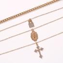 nouvelle croix multicouche collier sauvage rtro mode pendentif chane de clavicule en gros nihaojewelry NHMD231882