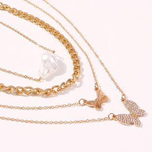 Nueva moda caliente pop diamante mariposa collar colgante elegante perla collar de múltiples capas al por mayor nihaojewelry NHMD231883's discount tags