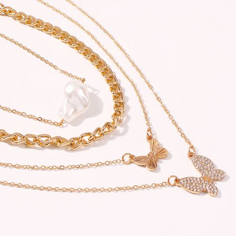new hot fashion pop diamond butterfly pendant necklace elegant pearl multi-layer necklace wholesale nihaojewelry NHMD231883's discount tags