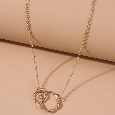 fashion transfer ring chain double ring alloy Roman necklace imitation k gold rose gold clavicle chain wholesale nihaojewelry NHMD231888's discount tags