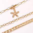 creative fashion punk style alloy multilayer necklace hot selling geometric lock pendant necklace wholesale nihaojewelry NHMD231890