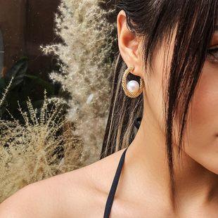 Venta caliente moda coreana simple pendientes de perlas al por mayor nihaojewelry NHMD231895's discount tags