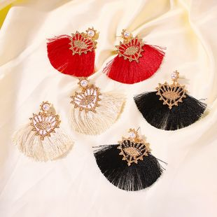 hollow alloy fan-shaped tassel earrings large Bohemian ethnic style tassel earrings wholesale nihaojewelry NHMD231897's discount tags