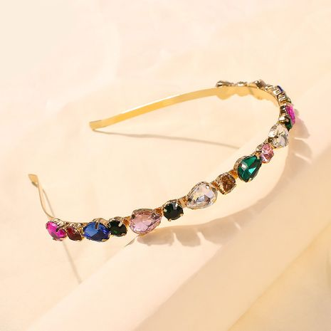 glass brick fine edge fashion hairband crystal hairpin sweet lady metal new headband girl wholesale nihaojewelry NHMD231899's discount tags