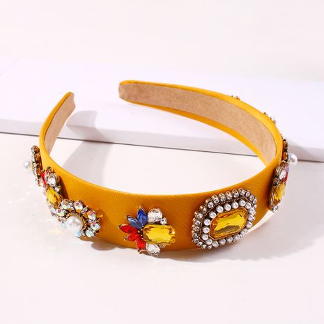 fashion popular spring and summer hairband color cloth palace style pearl headband inlaid glass drill headdress wholesale nihaojewelry NHMD231903's discount tags