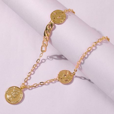 hot sale jewelry retro palace alloy coin pendant necklace elegant necklace wholesale nihaojewelry NHMD231905's discount tags