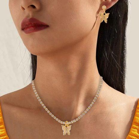 mode bijoux ensemble nouveau style de vacances géométrique papillon boucle d'oreille collier ensemble en gros nihaojewelry NHMD231911's discount tags