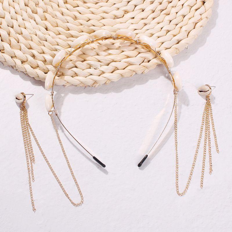 fashion style new hair hoop fashion imitation pearl shell headband thin edge simple hair hoop wholesale nihaojewelry NHMD231912