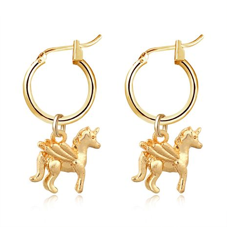 populaire mignon licorne pendentif anneau d'oreille créatif animal tridimensionnel avec boucles d'oreilles boucles d'oreilles boucle d'oreille en gros nihaojewelry NHGO231915's discount tags