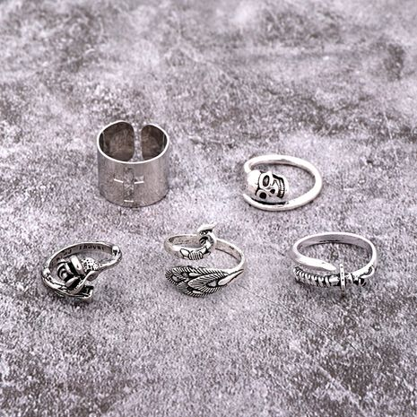 new punk ring retro gothic ancient silver skull hollow cross rose peacock ring wholesale nihaojewelry NHGO231916's discount tags