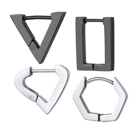 hot sale punk hip-hop stainless steel titanium steel triangle love rectangle earring wholesale nihaojewelry NHGO231923's discount tags