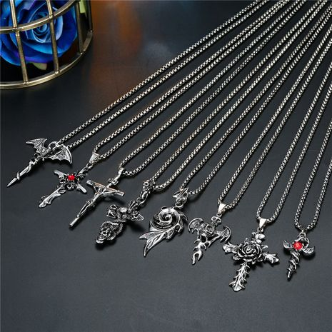punk retro style skull rose cross pendant necklace ancient silver gemstone necklace wholesale nihaojewelry NHGO231928's discount tags