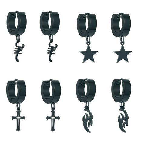 hot jewelry punk stainless steel earrings scorpion hollow cross pendant ear ring ear buckle wholesale nihaojewelry NHGO231935's discount tags