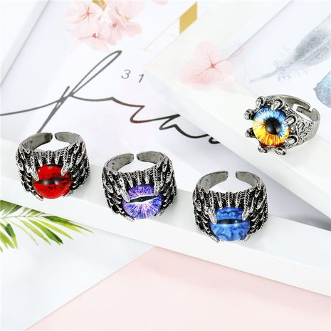 trend retro domineering ring punk demon eyes ancient silver open ring jewelry wholesale nihaojewelry NHGO231945's discount tags