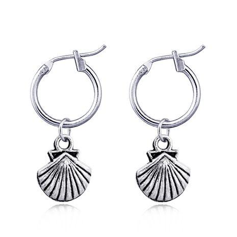 rétro simple coquille Saint-Jacques pendentif anneau d'oreille mignon boucles d'oreilles en argent antique en gros nihaojewelry NHGO231960's discount tags