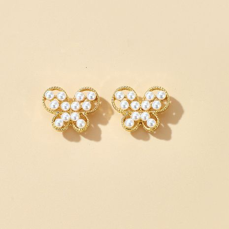 S925 silver needle sweet simple small butterfly earrings girl heart wild pearl earrings wholesale nihaojewelry NHGY231962's discount tags