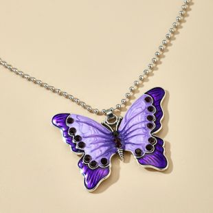 new fashion alloy diamond purple small butterfly pendant single-layer necklace wholesale nihaojewelry NHGY231963's discount tags