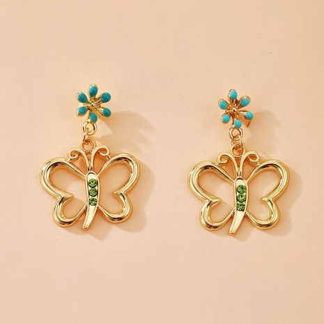 nuevos pendientes de mariposa flores de mariposa de diamantes verdes pendientes salvajes simples al por mayor nihaojewelry NHGY231965's discount tags