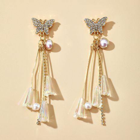 Korea's new diamond pearl crystal tassel long butterfly earrings wholesale nihaojewelry NHGY231970's discount tags