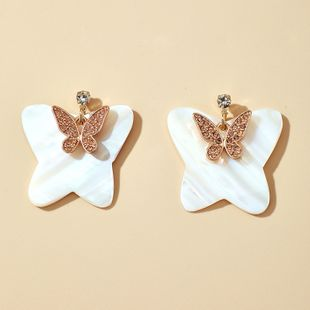 New Butterfly Earrings Exquisite Diamond Trendy Small Two-layer Butterfly Earrings wholesale nihaojewelry NHGY231972's discount tags