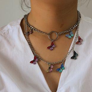 Collar simple coreano moda retro tendencia pintada goteando color mariposa collar al por mayor nihaojewelry NHKQ231978's discount tags