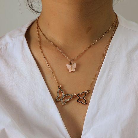 mode doux multi-couche collier simple rétro alliage diamant-set papillon style collier en gros nihaojewelry NHKQ231983's discount tags
