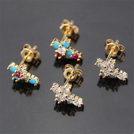 vente chaude zirconium trompette couleur zirconium croix boucles d'oreilles mode boucles d'oreilles en gros nihaojewelry NHBP232025's discount tags