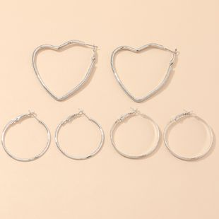 joyería de moda pendientes geométricos simples pendientes de amor de plata huecos salvajes al por mayor nihaojewelry NHNZ232029's discount tags