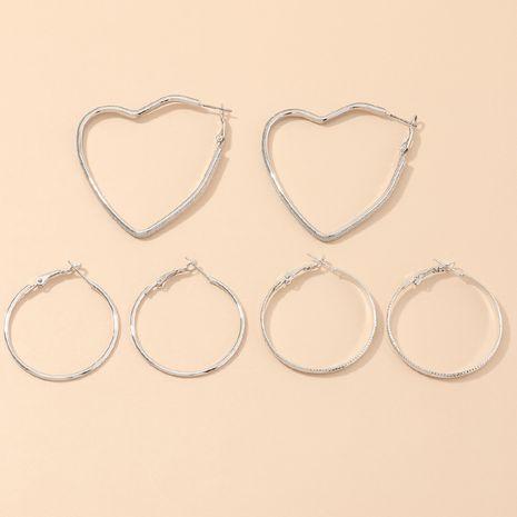 bijoux de mode simples boucles d'oreilles géométriques sauvages creux argent boucles d'oreilles d'amour en gros nihaojewelry NHNZ232029's discount tags