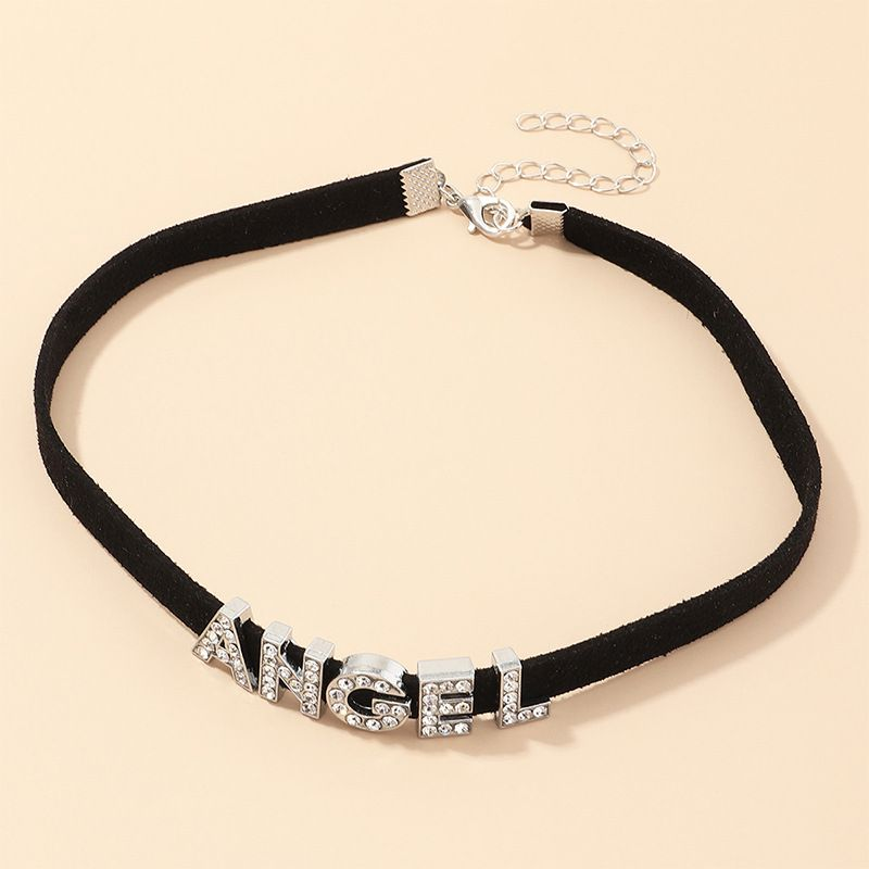 fashion jewelry velvet choker necklace retro punk style Angel necklace wholesale nihaojewelry NHNZ232033