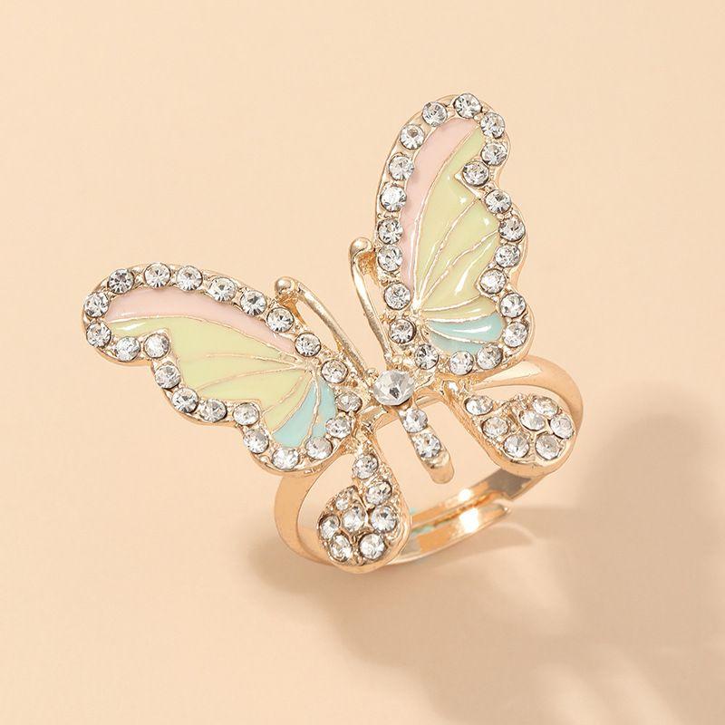 bijoux de mode super fée magique diamant bague papillon anneau doux gourmet anneau en gros nihaojewelry NHNZ232035