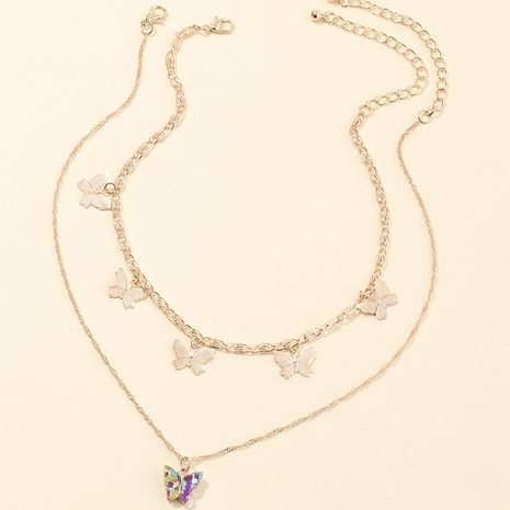 fashion jewelry popular multi-layer neck chain wild dripping butterfly necklace wholesale nihaojewelry NHNZ232037's discount tags