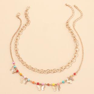 joyería de moda estilo punk cadena gruesa cuello cadena color arroz cuentas mariposa collar al por mayor nihaojewelry NHNZ232038's discount tags