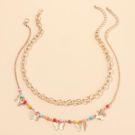 bijoux de mode style punk chaîne épaisse chaîne de cou couleur perles de riz collier papillon en gros nihaojewelry NHNZ232038's discount tags