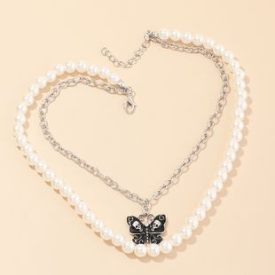 fashion jewelry pearl butterfly double necklace clavicle chain retro jewelry wholesale nihaojewelry NHNZ232041's discount tags