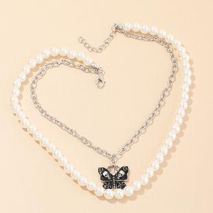 joyería de moda perla mariposa collar doble cadena de clavícula joyería retro al por mayor nihaojewelry NHNZ232041's discount tags