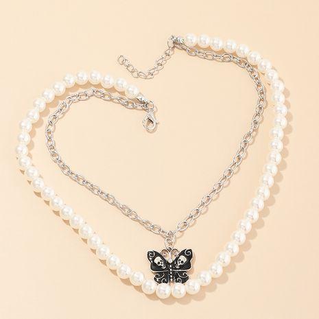 bijoux de mode perle papillon double collier chaîne de clavicule rétro bijoux en gros nihaojewelry NHNZ232041's discount tags