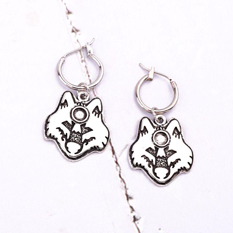 fashion jewelry men and women retro punk wolf head earrings animal ear ring ear buckle hot sale wholesale nihaojewelry NHGO232047