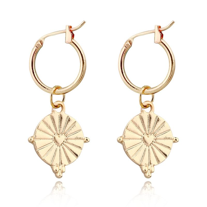 new trend jewelry retro fashion geometric love round metal earrings ear buckle hot sale wholesale nihaojewelry NHGO232048