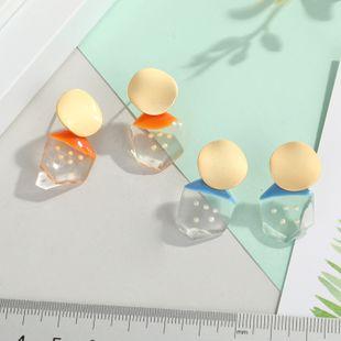 Nuevos pendientes de punta de onda coreana pendientes de perlas pendientes geométricos dulces y salvajes pendientes de resina al por mayor nihaojewelry NHGO232056's discount tags