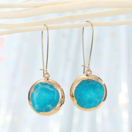 sun flower ear hooks imitation natural stone earrings round resin agate piece earrings wholesale nihaojewelry NHGO232057's discount tags
