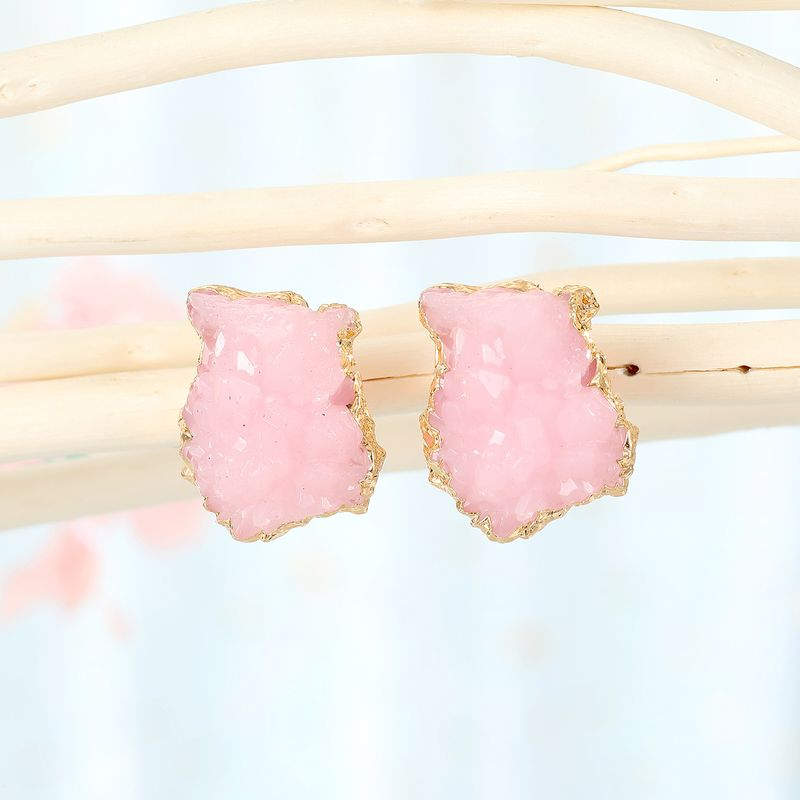 new imitation crystal bud irregular earrings geometric imitation natural stone earrings resin earrings wholesale nihaojewelry NHGO232060