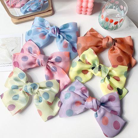 Korean satin polka dot hair clip head sweet top clip large bow spring clip headdress wholesale nihaojewelry NHOF232067's discount tags