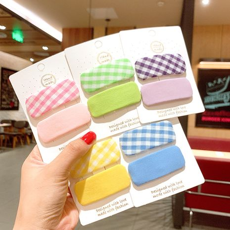 Children's candy color fabric lattice color matching hairpin little girl sweet solid color square BB clip hairpin hair trimming clip wholesale  NHSA232072's discount tags