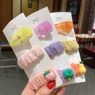 Mignon fille coloré tissu fruits plaid carré acrylique BB pince pince ensemble trois pièces accessoires pour cheveux en gros NHSA232075