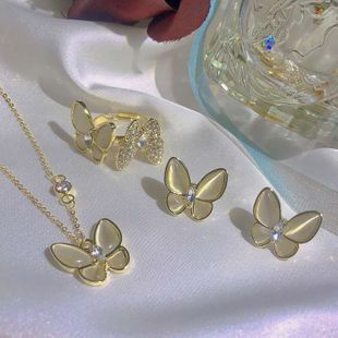New Fashion Butterfly Crystal Necklace Lady Street Shoot Fashion Butterfly Necklace Earring wholesale nihaojewelry NHOT232125's discount tags