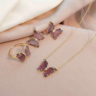 transparent crystal glass butterfly necklace earring necklace set wholesale nihaojewelry NHOT232124's discount tags