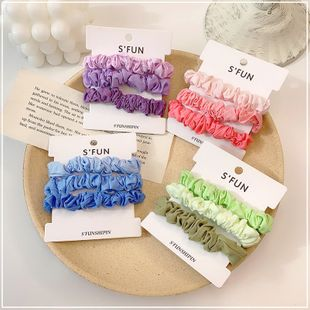 summer hair scrunchies hit color hair circle girl heart headwear rubber band Korean suit color matching fold head rope wholesale nihaojewelry NHOF229658's discount tags