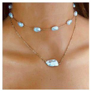 Joyería de moda simple cadena de metal en forma de collar de perlas colgante hecho a mano al por mayor nihaojewelry NHCT232085's discount tags