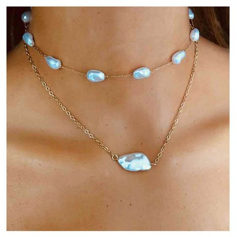 fashion jewelry simple metal chain shaped pearl pendant handmade necklace  wholesale nihaojewelry NHCT232085's discount tags